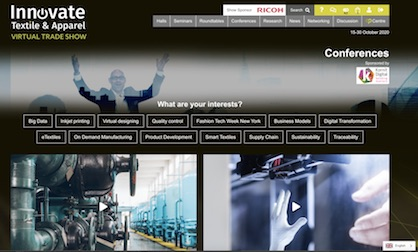 Screenshot conference site at Innovate Textile & Apparel virtual trade show (c) 2020 WTIN