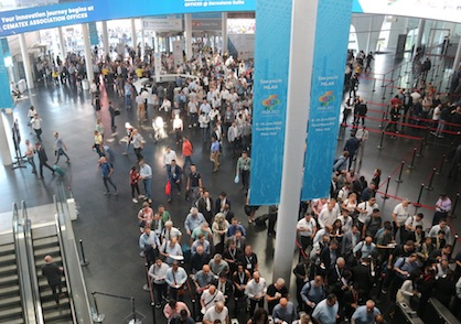 On the closing day of ITMA 2019 in Barcelona, the flags indicated the next event in Milan: ITMA 2023 (c) 2021 TexData International