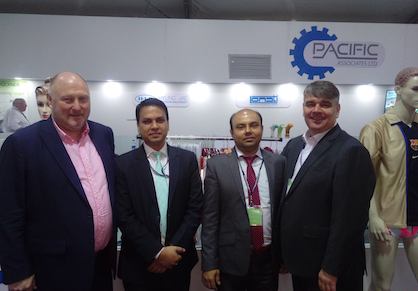 Fig. from left to right: Mark Smith from KARL MAYER, Ujjal Sen and Imran Mohaiminul from Pacific Associates, and Peter Frise from KARL MAYER (H.K.) during the DTG Bangladesh (c) 2018 KARL MAYER