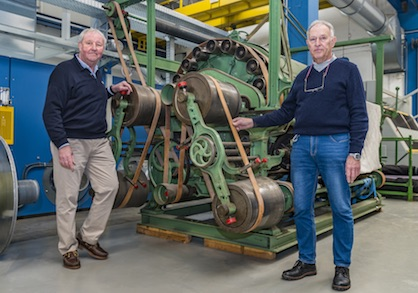 Fred Vohsdahl (left) and Walter Dresen with the103-year-old Monforts machine (c) 2021 Monforts