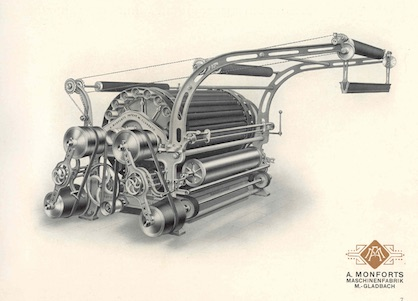 Illustration of the raising machine from the 1920s (c) 2021 Monforts