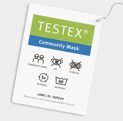 "Innovative Swiss Companies, Schoeller Textil AG and Forster Rohner AG, present: the first Swiss ""Community Mask"" with TESTEX label on the market (c) 2020 «Testex.ch», «Forster Rohner AG / Schoeller Textil AG»"