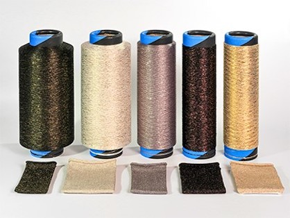 Fig. 5: Yarn packages and fabric samples made of filament and Lurex (c) 2020 SSM