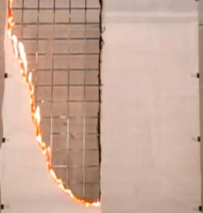 Test combustion of paper with (right) and without Landex Coat Flame Retardant Clear treatment (c) 2017 Teijin