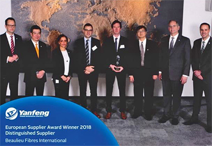 Caption: Yanfeng Distinguished Supplier Award Winner 2018.<br />
