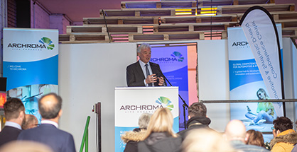 Opening ceremony at the new Archroma Global Competence Center for Automotive & Synthetic Dyeing in Korschenbroich, Germany, in presence of Alexander Wessels, CEO of Archroma. (Photo: Archroma)