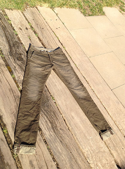Chinos dyed using Pad-Ox G2. (Photo: Archroma)