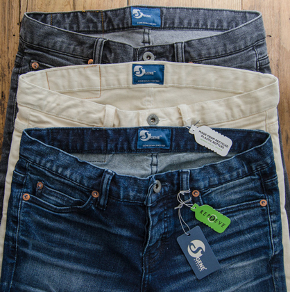 S GENE® with REPREVE® combines the advanced stretch technology of S GENE from Cone Denim, with the superior sustainability and performance of REPREVE recycled polyester fiber from Unifi.  (c) 2017 Cone Denim / Unifi