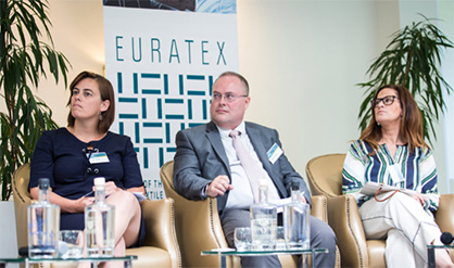 Guest speakers from Panel 2: Anneleen De Smet (Beaulieu International Group, Belgium), Jean-Luc Barbarin (Innothera , France) and Elsa Parente (Valérius, Portugal) (c) 2018 EURATEX