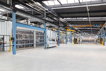 The new Customer and Technology Center in Egelsbach –  Web bonding, drying and winding section (c) 2019 Trützschler