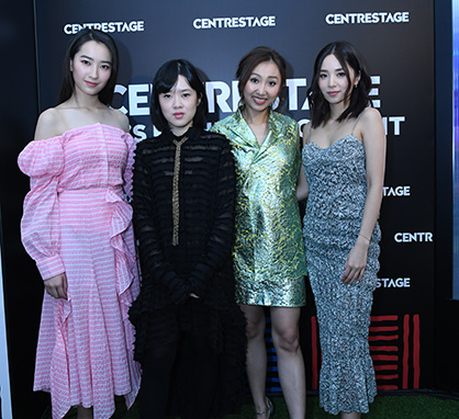 From left to right: Hong Kong celebrity Ashley Lam, fashion designer Anais Mak, and celebrities Rikko Lee and Heidi Lee, wearing ANAÏS JOURDEN's collection (c) 2019 HKTDC