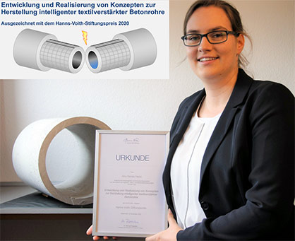 ITA doctoral candidate Kira Heins with certificate of the Hanns Voith Foundation Award, source: ITA