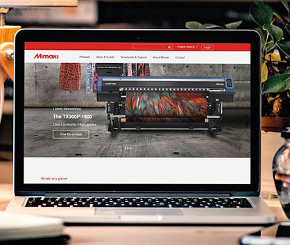 The new website features more interactive and intuitive user experience and fresh corporate look (c) 2018 Mimaki