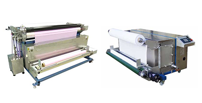 Bringing a Total Solutions Approach to digital production of textiles, Mimaki also offers pre- and post-print treatment machines, such as the TR300-1850C coating machine (left) and TR300-1850S steaming machine (right). (c) 2019 Mimaki