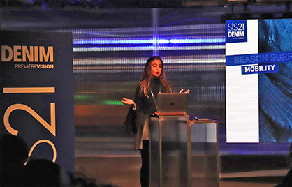 Manon Mangin of the Première Vision Fashion Team outlines the trends for the Spring/Summer 2021 season at the London show. (c) 2019 Monforts