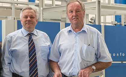 Monforts Head of Technical Textiles Jürgen Hanel (left) with ATC manager Fred Vohsdal, who has now worked for the company for 51 years and has a wealth of accumulated know-how to share with customers (c) 2020 Monforts