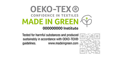 MADE IN GREEN by OEKO-TEX® is a traceable consumer label for sustainable textiles. Each product awarded the label has a unique product ID that gives consumers visibility to the product's origins including the countries in which the textiles were produced. © OEKO-TEX®