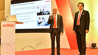 Jürgen Vogel and Debabrata Ghosh opened the technology symposium in Daman, attended by around 450 people. (c) 2020 Oerlikon