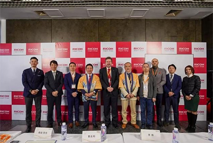 Morita, Miyao and others of the Ricoh Group cut a unified presence through out the launch ceremony and conference. (c) 2019 Ricoh