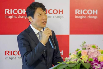 Koji Miyao, Chairman and General Manager of Ricoh China, said Ricoh aims to expand its China business into a core market, as in Europe and the Americas. (c) 2019 Ricoh
