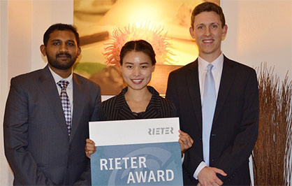 Pic: The Rieter Award prize winners 2017 (from the left): Salman Ahmad (Pakistan), Mengru Li (China), and Matthew James Coats (US). Not in the photo: Dogukan Vanlioglu (Turkey) (c) 2017 Rieter