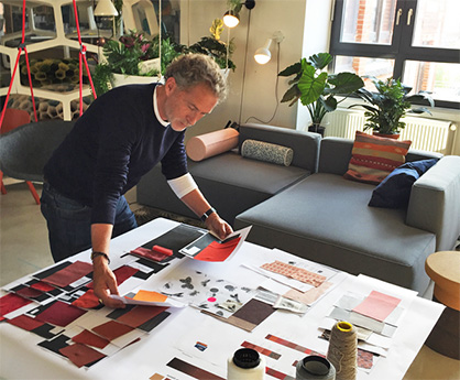 "Copyright ©Trevira GmbH | Designer Werner Aisslinger selecting fabrics for special exhibition ""Textile Future by Trevira CS"""
