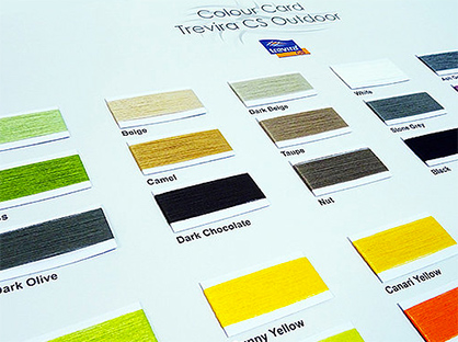 © Photo: Trevira GmbH | Yarn colour card with flame retardant, spun-dyed, UV-stable Trevira yarns in 28 colours