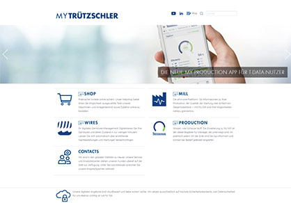 """All digital Truetzschler solutions can be viewed at a glance in """"My Trützschler"""". Access is gained via the company's website or directly via https://my-truetzschler.com. © 2021 Truetzschler"""