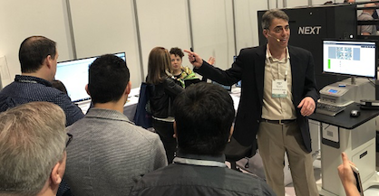 EFI s Sourcing at MAGIC exhibit features EFI Optitex design and EFI Fiery Textile prep software, along with EFI Reggiani digital printing and partner systems for image fixation and cutting (c) 2018 EFI