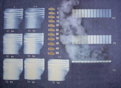 Denim fabric showing the new Light Sensitive Fabric (LSF) test (c) 2017 Jeanologia