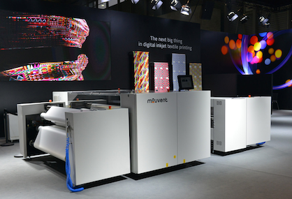 An output of up to 200 sqm/h, an optical resolution of 2000 dpi, up to 16 g/sqm of ink in a single pass and extremely compact design make the Mouvent TX801 a digital textile printer cut from a different cloth (c) 2017 Mouvent