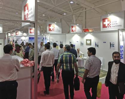 The Swiss Textile Machinery Association's pavilion at Irantex provided a busy hub to stimulate business discussions and networking (c) 2017 SWISSMEM
