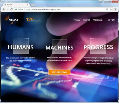 The new website humans-machines-progress.com (c) 2017 VDMA