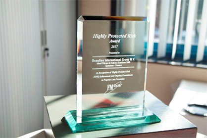 Pic: Beaulieu Yarns received the Highly Protected Risk (HPR) Award at a ceremony on November 7, 2017 attended by all staff, and representatives of B.I.G. Management, Beaulieu Yarns Management and FM Global Management. (Photo: © Beaulieu International Group)