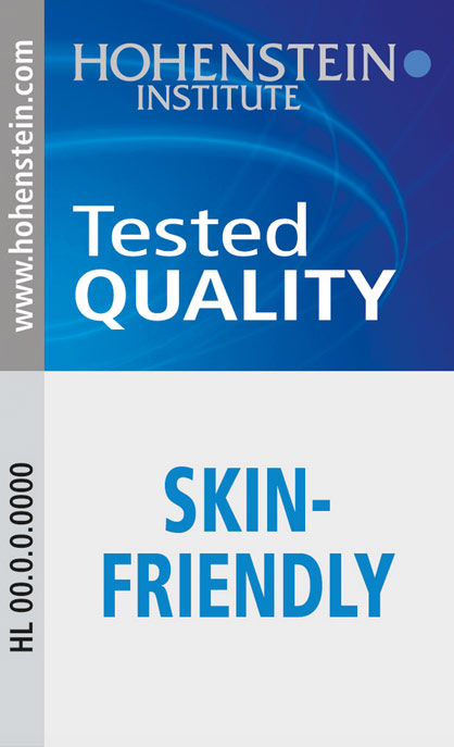 "Pic: The Hohenstein Quality Label ""Skinfriendly"" can be used for supporting advertising and attests independent checks and trade safety © Hohenstein Group"