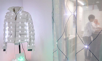 Pic: Eye-catcher: Ski fashions with integrated LEDs at the exhibition stand of Forster Rohner Textile Innovations / Source: Messe Frankfurt Exhibition GmbH