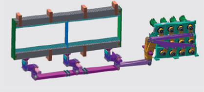 Figure 4: Smart Frames with 12 servomotors to drive the ground heddle frames giving a higher weaving efficiency and a higher quality of carpet (c) 2018 VANDEWIELE